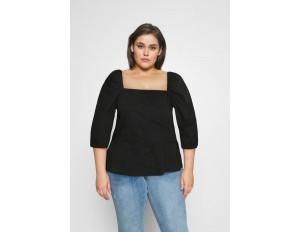 Glamorous Curve PUFF SLEEVE PEPLUM - Bluse - black solid/schwarz