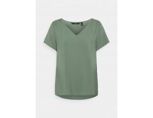 Vero Moda VMNADS SHOULDER FRILL - T-Shirt basic - laurel wreath/hellgrün