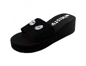 HEETEY Damen Sandalen Frauen Pearl Drill Flat Slides Hauptbadezimmer-Badesandalen Schuhe Hausschuhe Flache untere Strandschuhe der Perle Rhinestone Hausschuhe am Meer