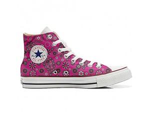 Unbekannt Sneakers American USA - Base personalisierte Schuhe (Custom Produkt) Hot Pink Paysley