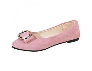 Damen Klassische Ballerinas Wildleder Flache Schuhe mit Zierschnalle Frauen Mokassins Bequeme Loafer Schöner Damenschuhe Celucke