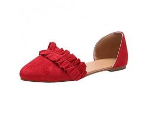 Damen Klassische Ballerinas Wildleder Spitz Flache Schuhe mit Rüschen Frauen Mokassins Bequeme Loafer Schöner Damenschuhe Celucke