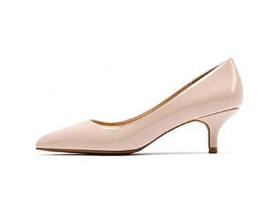 Soulength Frauen Kitten Heels Stilettos 5 cm Punkt Zehen Lackleder Damen Pumps rutschfeste Gummisohle Sexy Elegante Komfortable Einzelne Schuhe 34-43EU