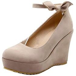 VulusValas Damen High Keilabsatz Schuhe mit Absatz Knöchelriemchen Buro Schuhe