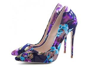 YIZHIYA Frauen High Heels 12cm Elegante Stofffarbe Spitze Zehen Asakuchi Damen Court Schuhe Hochzeitsfeier Club Abendkleid Court Schuhe große Größen Pumps Lila 35 EU