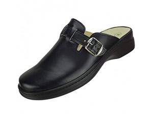 Algemare Damen Clog Hausschuh aus Velour mit waschbarem Sani-pur Wechselfußbett Pantolette 59222_0404 Sandalette Fußbettpantolette Größe:37 EU