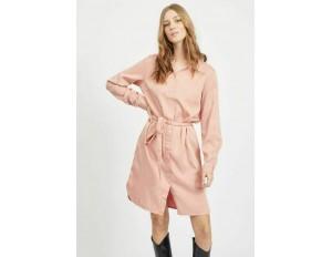 Vila VIBISTA BELT DRESS - Blusenkleid - misty rose/rosa