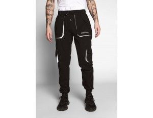 Sixth June TROUSERS WITH COLOUR CONTRASTS - Cargohose - black/schwarz