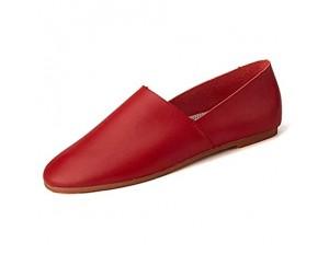 CAIFENG Freizeitfahren Müßiggänger for Männer Casual Flat Penny Schuhe Runde Zehen Weiche Mikrofaser Leder perforiertem Slip auf leichten Huns (Color : Red Size : 47 EU)