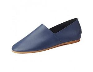 CAIFENG Freizeitfahren Müßiggänger for Männer Casual Flat Penny Schuhe Runde Zehen Weiche Mikrofaser Leder perforiertem Slip auf leichten Huns (Color : Blue Size : 37 EU)