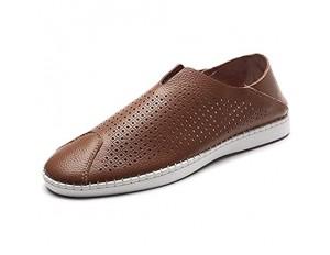 CAIFENG Freizeitfahrer Müßiggänger for Männer Casual Flat Penny Schuhe Slip-on Weiche Echte Lederstich Runde Zeh Perforierte rutschfeste leichte Huns (Color : Brown Size : 45 EU)