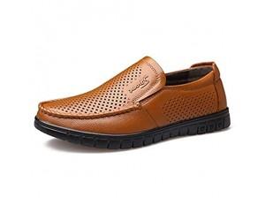 CAIFENG Klassische Müßiggänger for Männer Casual-Schuhe Slip-on perforiertes flaches flaches Niedrig-Anti-Rutsch-Veganer der echte Leder-Runde Toe fährt (Color : Yellow Size : 43 EU)