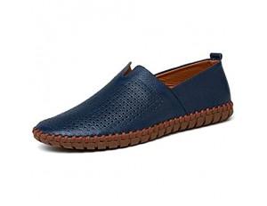 CAIFENG Müßiggänger for Männer Casual-Schuhe Slip-on Flat-Nähte Anti-Rutsch Echtes Leder der atmungsaktive runde Zehe handgefertigt ist (Color : Blue Perforated Size : 40 EU)
