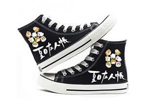 LKKOY High Top Teilweise Gedruckt Natsumes Freundesbuch High-Top Canvas Shoes Unisex 3D Anime Cosplay Gedruckt Freizeit Leinwand Schuhe Flache Sneakers Für Jugendliche Studenten Black