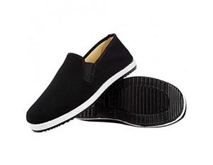 Xu-shoes Manuelle Baumwollfutter Traditionelle Slipper rutschfeste tragbare Arbeitsstoffschuhe Reifensohle Tai Chi Hausschuhe (Color : Black Size : EUR 44)