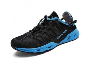 CHUIKUAJ Strandschuhe Herren Damen Wasserschuhe Leichte Outdoor-Sportschuhe Athletic Fitness Run Casual Sneakers Zum Angeln von Wanderschuhen Black-EU40