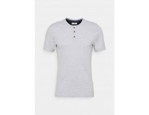 TOM TAILOR HENLEY WITH SMART DETAILS - T-Shirt basic - light stone/grey melange/hellgrau