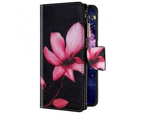 Uposao Kompatibel mit Samsung Galaxy A20 / A30 Hülle Geldbörse mit Reißverschluss Handyhülle Bunt Retro Muster Klapphülle Flip Case Cover Schutzhülle Lederhülle Kartenfächer Magnet Pink Blumen