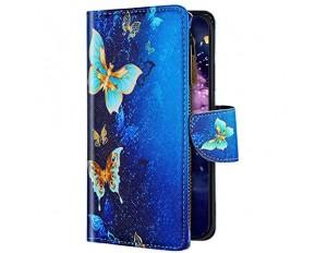 Uposao Kompatibel mit Xiaomi Redmi 7 Hülle Flip Schutzhülle Leder Handyhülle Geldbörse mit Reißverschluss 3D Bunt Muster Klapphülle Ledertasche Magnet Kartenfächer Schmetterling Gold