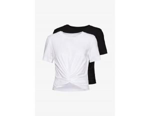 Monki WILMA TOP 2 PACK - T-Shirt basic - black/white/schwarz