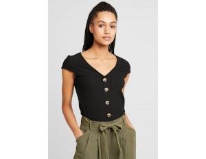 ONLY ONLNELLA BUTTON - T-Shirt print - black/schwarz