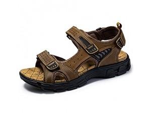 ERTYP Atmungsaktiv Herren-Strand-Schuhe in Übergrößen Outdoor-Sport-beiläufige Ledersandale Open Toe Outdoor-Schuhe (Color : Brown Size : 44)