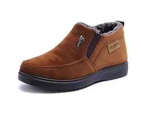 Juqilu Winter Sneaker für Herren - Warmes Futter Sneaker Flache Turnschuhe Atmungsaktiv Gummisohle Slipper Sportschuhe Canvas Sneaker Outdoor EU38-45